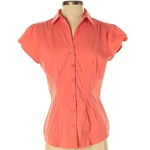 DRESS BARN Short Sleeve Button-up Coral Blouse